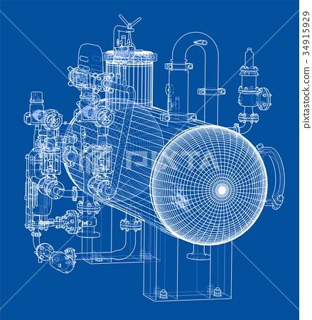 Sketch industrial equipment - Stock Illustration [34915929