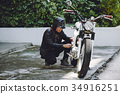 Small Breakage of Vintage Motorcycle 34916251