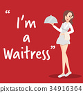 Waitress character with tray on red background 34916364