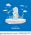 Merlion landmark and tourist attraction Singpapore 34916375