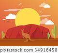 Kangaroo in desert and mountain for traveling 34916458