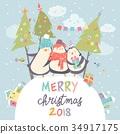 Funny penguins friends celebrating Christmas 34917175