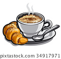coffee cappuchino with croissant 34917971