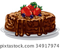 chocolate cake with berries 34917974