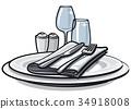 plate cutlery napkin 34918008