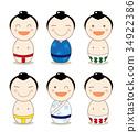 日本材料,kokeshi,娃娃套装(摔跤手) 34922386
