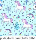 pattern with unicorns and other elements 34922861