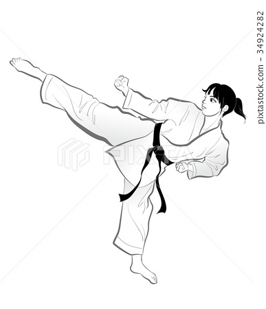 Karate Poses Kicks Women Stock Illustration 34924282
