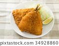 炸竹莢魚 油炸的 油炸食品 34928860
