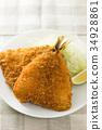 炸竹莢魚 油炸的 油炸食品 34928861