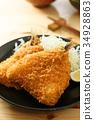 炸竹莢魚 油炸的 油炸食品 34928863