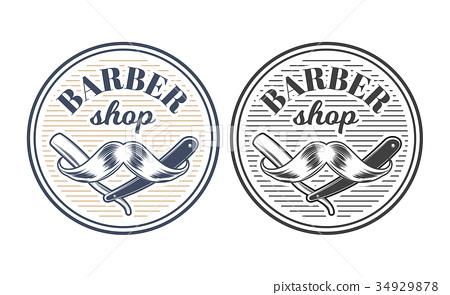 Barber shop equipment illustration engraved style 34929878