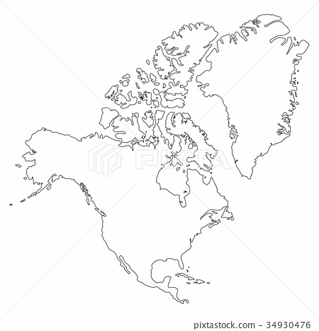 North America map outline graphic freehand drawing - Stock ...