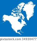 White North America map on blue background 34930477