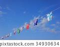 운동회 풍경 푸른 하늘에 국기 34930634