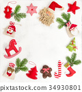 Christmas decoration gift bags Flat lay frame 34930801