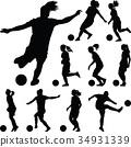 soccer women silhouette. girl player vector 34931339