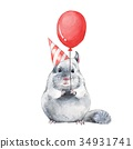 Chinchilla 1. Watercolor birthday card 34931741