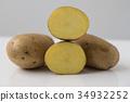Potato isolated on white background close up 34932252
