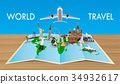 landmark on world map with flying airplane 34932617