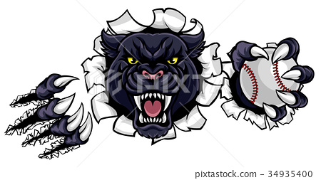 Black Panther Baseball Mascot Breaking Background 34935400