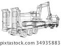 excavator, trailer, truck 34935883