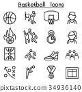Basketball icon set in thin line style 34936140
