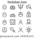 Psychology icon set in thin line style 34936143