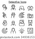 Detective icon set in thin line style 34936153