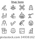 Addiction & Drug icon set in thin line style 34936162