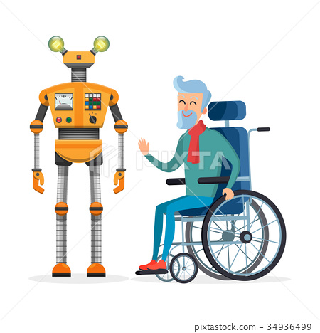 Yellow Robot Helps Disabled Person Vector 34936499
