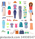 Modern Young girl with Big Summer Outfits Set 34936547