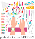Nail Polishes and Instruments for Manicure Set 34936621