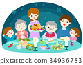Happy family having a Christmas dinner vector. 34936783