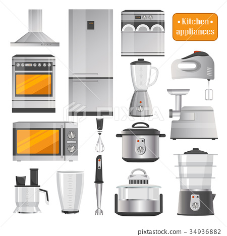 Kitchen Electric Appliances Big Illustrations Set 34936882