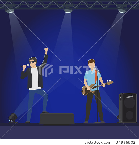 Musical Group Performs on Big Stage Illustration 34936902