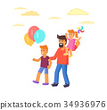 Father with Son Holding Balloons, Daughte on Arms 34936976