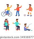 Cheerful Man Lives Active Life Vector Illustration 34936977