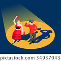 Dancing People Isometric Illustration 34937043
