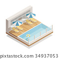 Swimming Pool Outdoor Isometric Composition  34937053