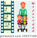 family, father, stroller 34937169