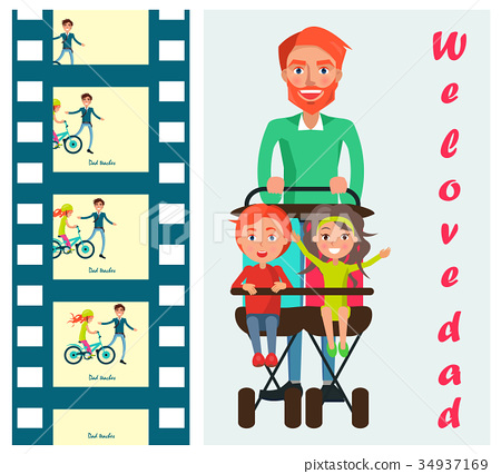 Father Carrying Kids on Two Seat Stroller Vector 34937169