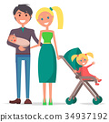 Parents Day Poster Depicting Young Family 34937192