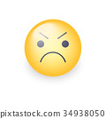 Angry smiley emoji face. Annoyed cute cartoon 34938050