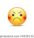 Angry smiley emoji face. Annoyed cute cartoon 34938135