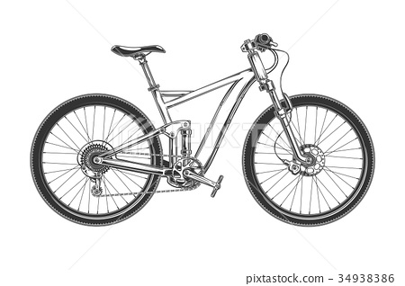 Downhill cross country bicycle engraved vector 34938386
