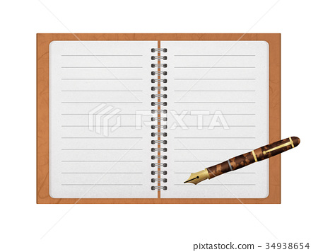 spiral-bound notebook, fountain pen, bekko 34938654