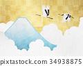 富士山 鹤 新年贺卡材料 34938875