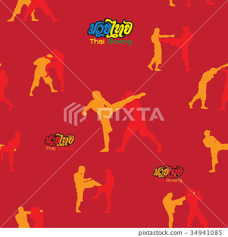 seamless background ,Thai boxing.  34941085
