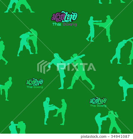 seamless background ,Thai boxing.  34941087